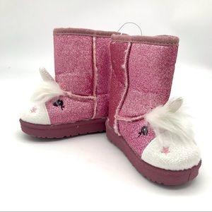 Swiggles Pink Glitter Unicorn Girls Boots Size 6